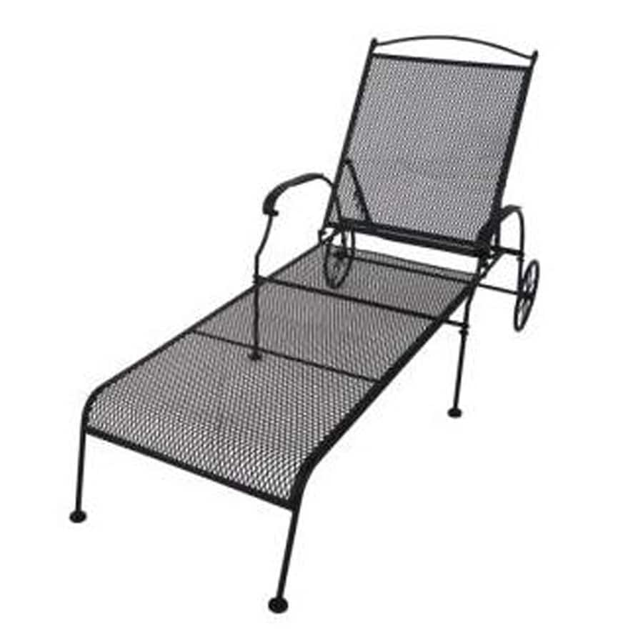 Garden Treasures Hanover Mesh Seat Wrought iron Patio Chaise Lounge
