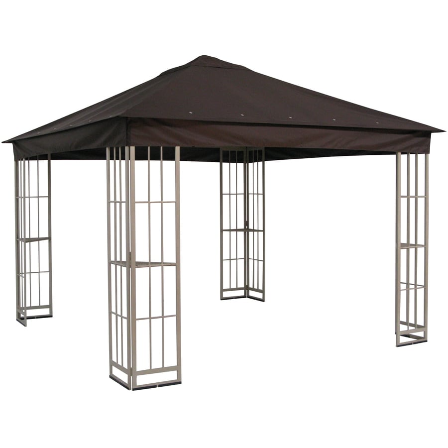 Garden Treasures 10-ft x 10-ft x 9-ft Polyester Roof Beige Steel Square Gazebo