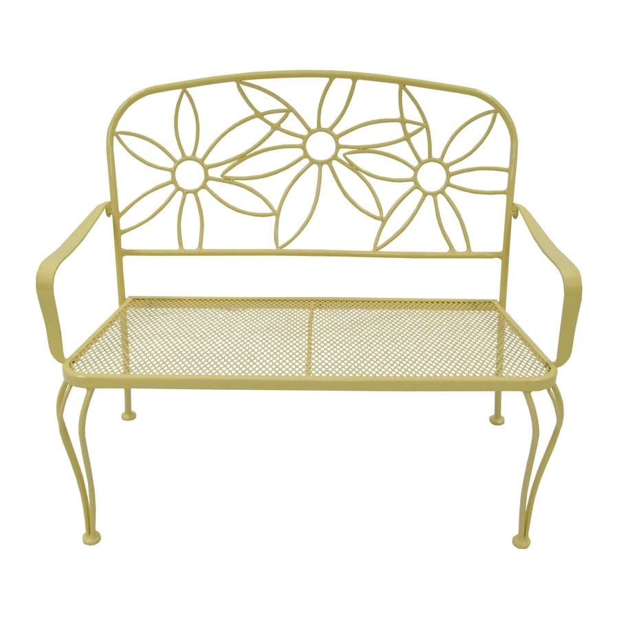 Shop garden treasures 36 in l steel iron patio bench at Lowes garden bench