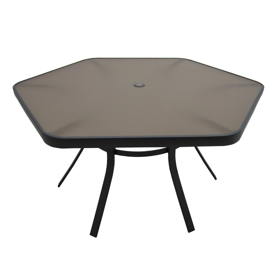 Garden treasures hayden island 56 in w x 50 in l 6 seat hexagonal steel patio dining table with a glass tabletop