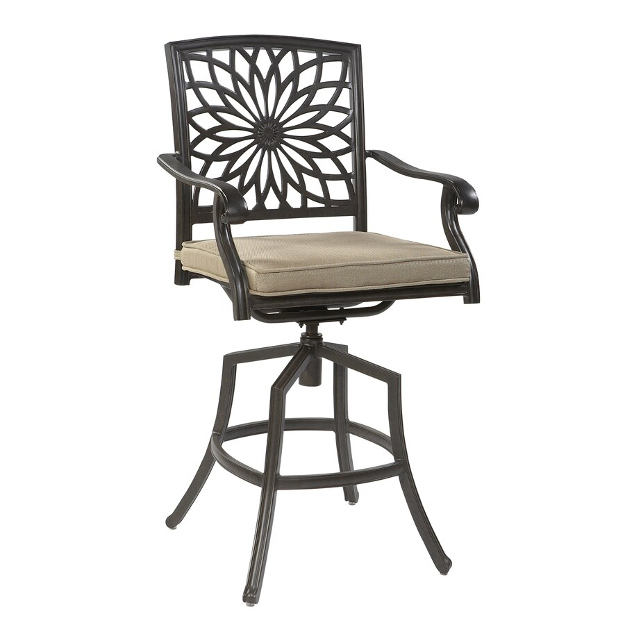 Garden Treasures Set of 4 Willow Pass Brown Cushioned Seat Aluminum Swivel Patio Dining Chairs