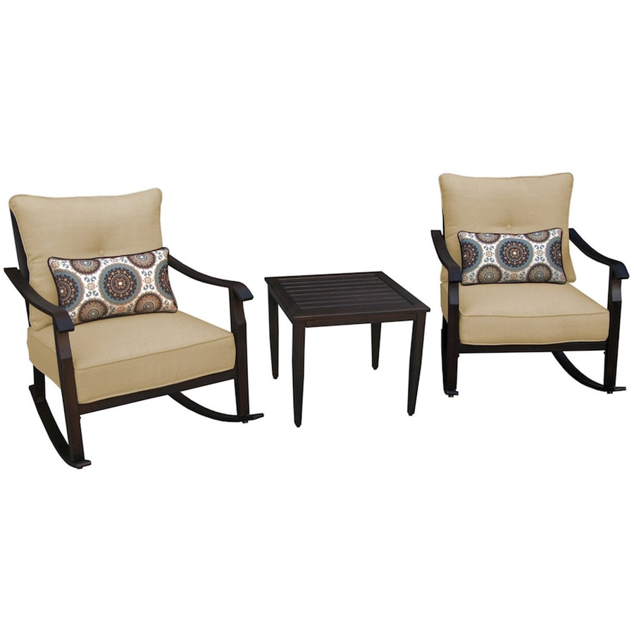 Apollo Outdoor Designs Scottsdale 2-Count Brown Steel Patio Rocking Chairs with Beige Cushions