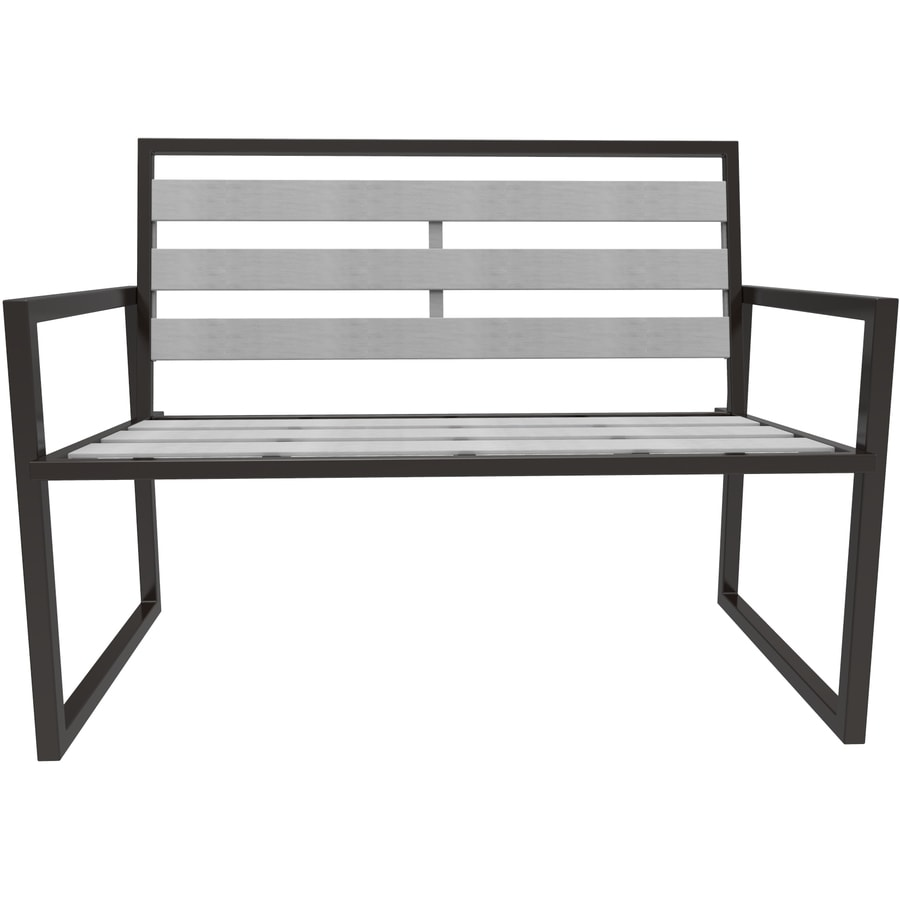 Apollo Outdoor Designs Montgomery 23-in W x 50-in L Black Steel Patio Bench