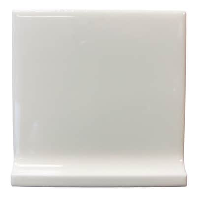 Interceramic Wall Tile White Ceramic Cove Base Tile (Common