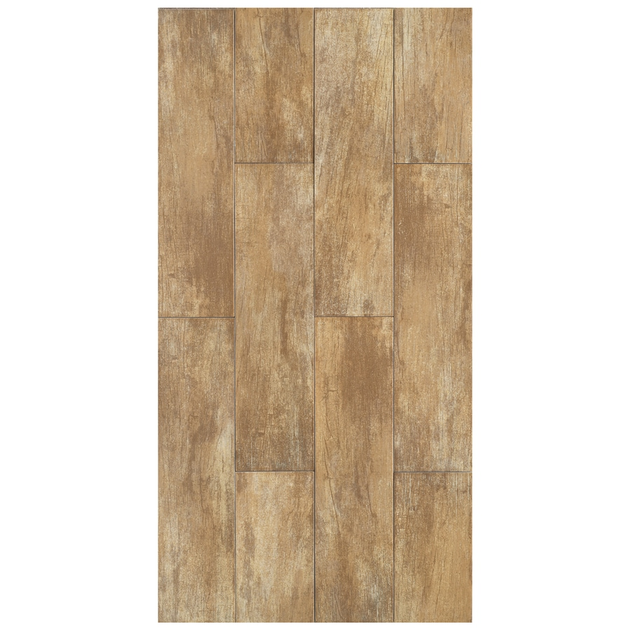 Shop interceramic forestland 11 pack sequoia wood look porcelain floor tile common 6 in x 24 - Lowes floor tiles porcelain ...