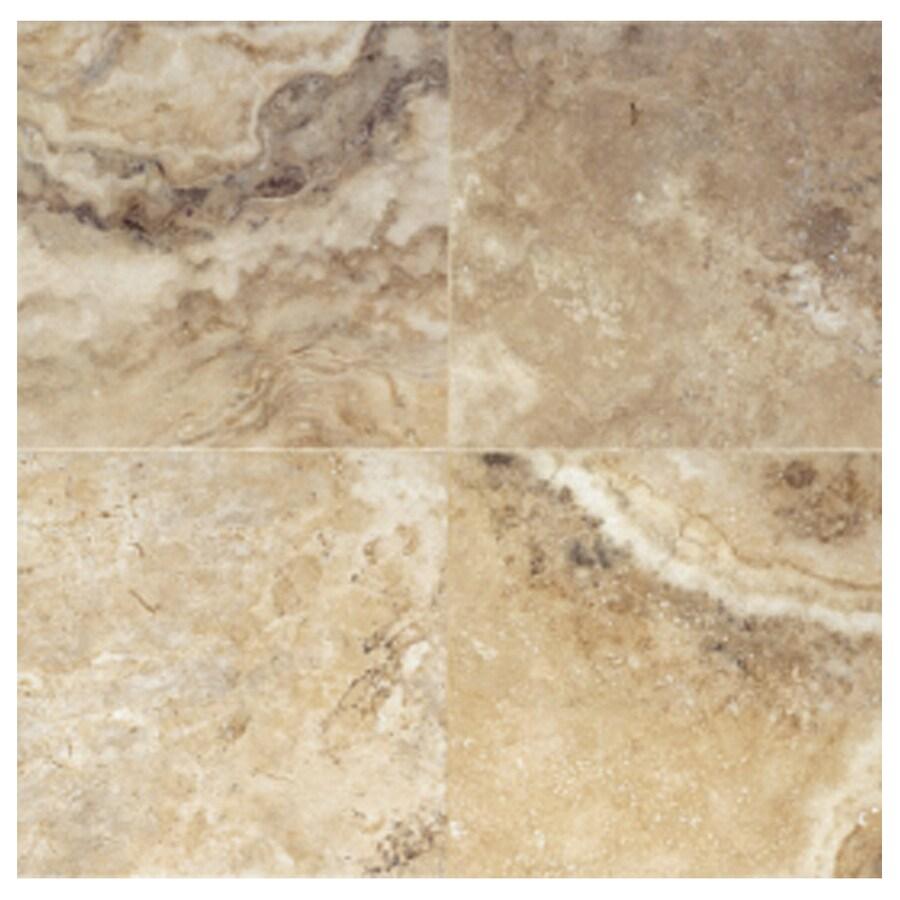 Interceramic Travertino Royal 10-Pack Walnut Ceramic Floor Tile (Common: 16-in x 16-in; Actual: 15.74-in x 15.74-in)