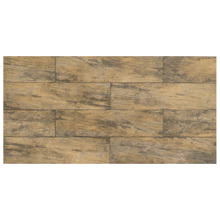 Interceramic 6-in x 24-in Forestland Maple Glazed Porcelain Floor Tile