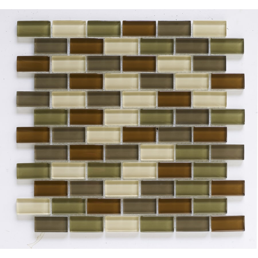 Shop Interceramic 12 In X 12 In Shimmer Blends Woods Glass Mosaic