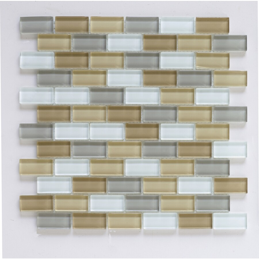 Interceramic 12-in x 12-in Shimmer Blends Haze Glass Mosaic Subway Wall Tile (Actuals 12-in x 12-in)