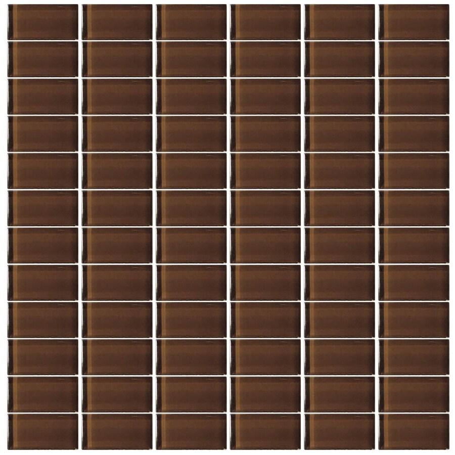 Interceramic Glassique Fudge Uniform Squares Mosaic Glass Wall Tile (Common: 12-in x 12-in; Actual: 11.81-in x 11.81-in)