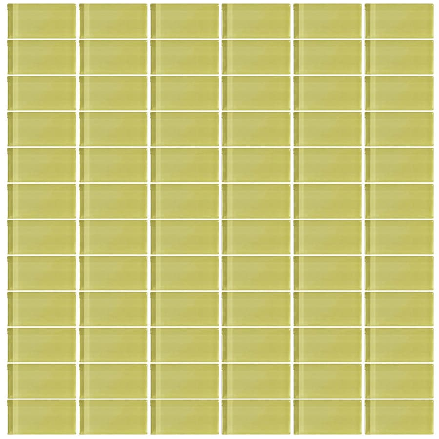 Interceramic Glassique Pear Uniform Squares Mosaic Glass Wall Tile (Common: 12-in x 12-in; Actual: 11.81-in x 11.81-in)
