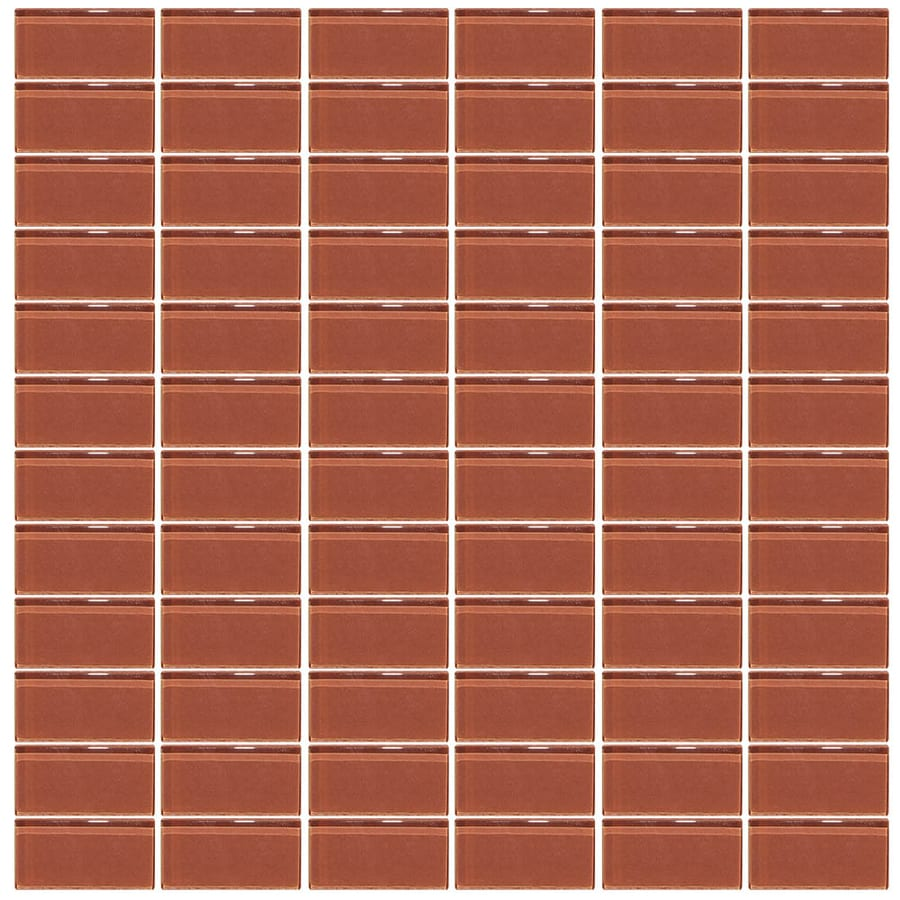 Interceramic Glassique Pomegranate Uniform Squares Mosaic Glass Wall Tile (Common: 12-in x 12-in; Actual: 11.81-in x 11.81-in)