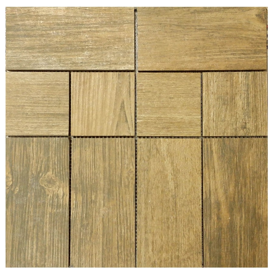 Shop interceramic newcroft barn wood brown mixed pattern mosaic wood look ceramic floor tile Wood pattern tile