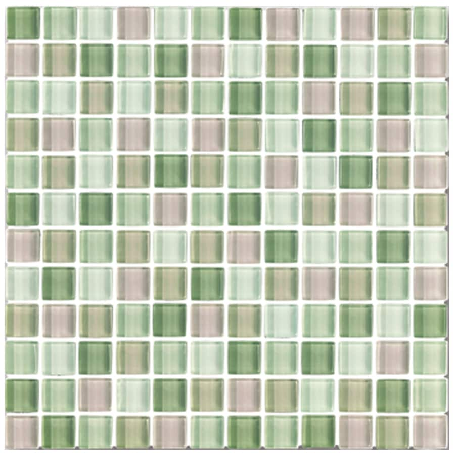 Interceramic Shimmer Blends Garden Uniform Squares Mosaic Glass Wall Tile (Common: 12-in x 12-in; Actual: 11.89-in x 11.89-in)