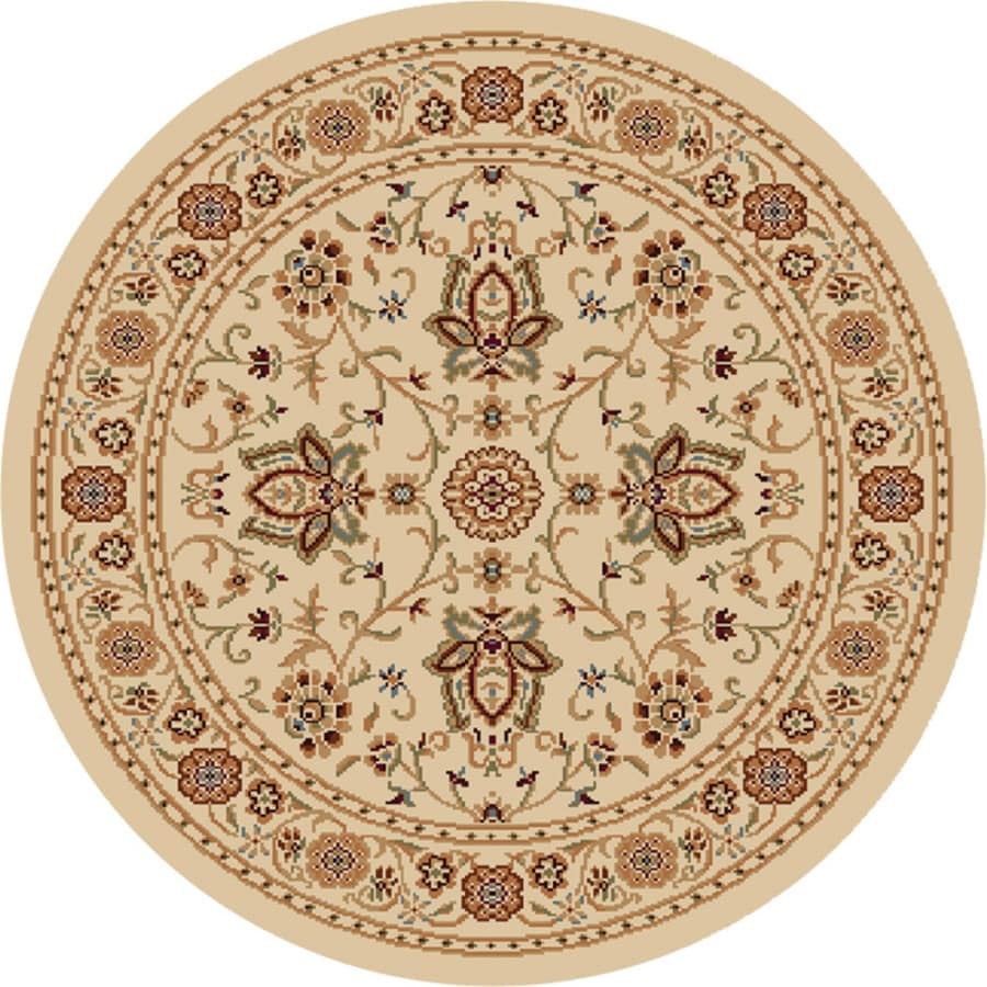 Home Dynamix Rome Ivory Round Indoor Woven Area Rug (Common: 5 x 5; Actual: 5.17-ft W x 5.17-ft L)