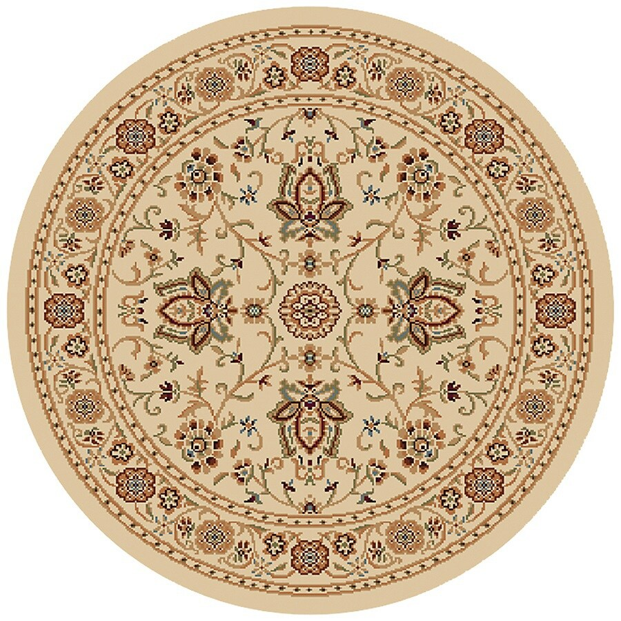 Home Dynamix Rome Ivory Round Indoor Woven Throw Rug (Common: 4 x 4; Actual: 39-in W x 39-in L)