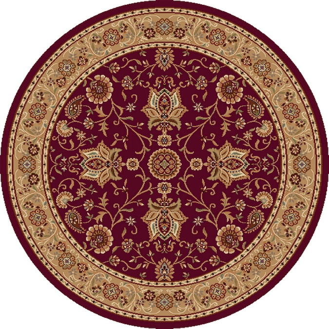 Rome Red Round Indoor Woven Area Rug