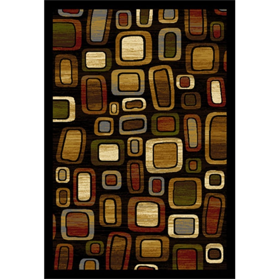 Home Dynamix Montreal Black and Multicolor Rectangular Indoor Woven Area Rug (Common: 5 x 7; Actual: 62-in W x 86-in L)