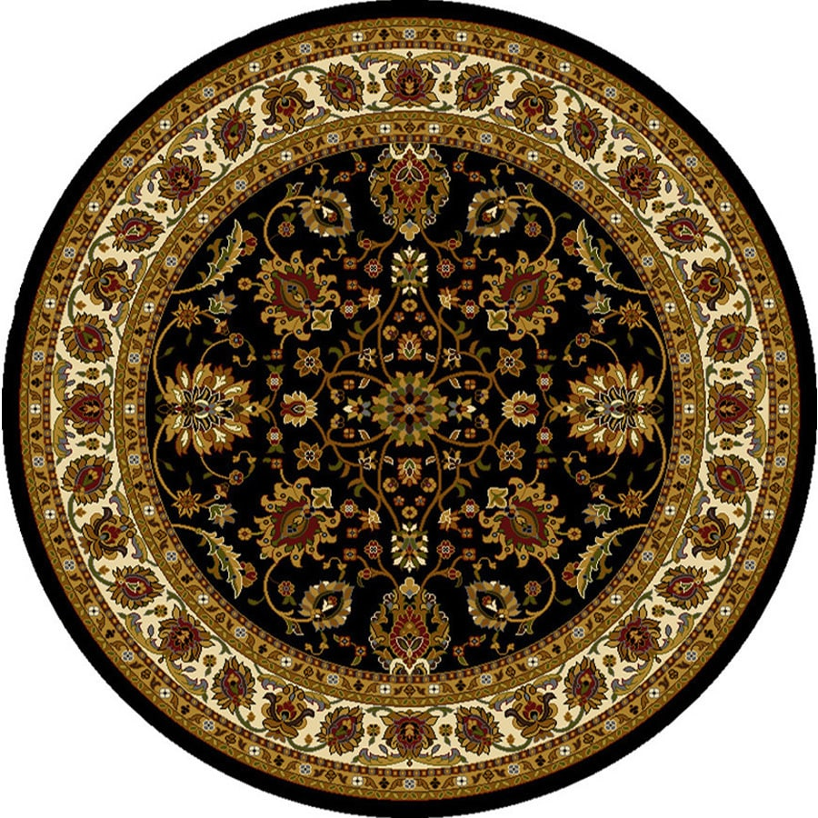 Home Dynamix Paris Black Round Indoor Woven Area Rug (Common: 5 x 5; Actual: 5.17-ft W x 5.17-ft L)