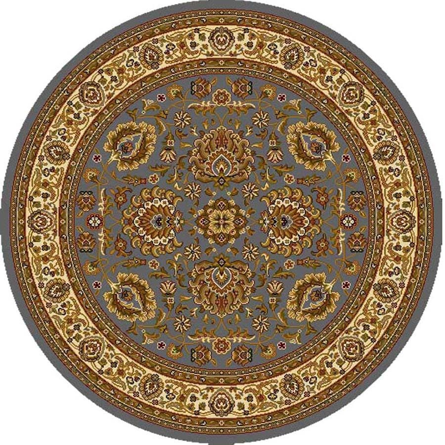 Home Dynamix Brussels Blue and Ivory Round Indoor Woven Area Rug (Common: 8 x 8; Actual: 94-in W x 94-in L)