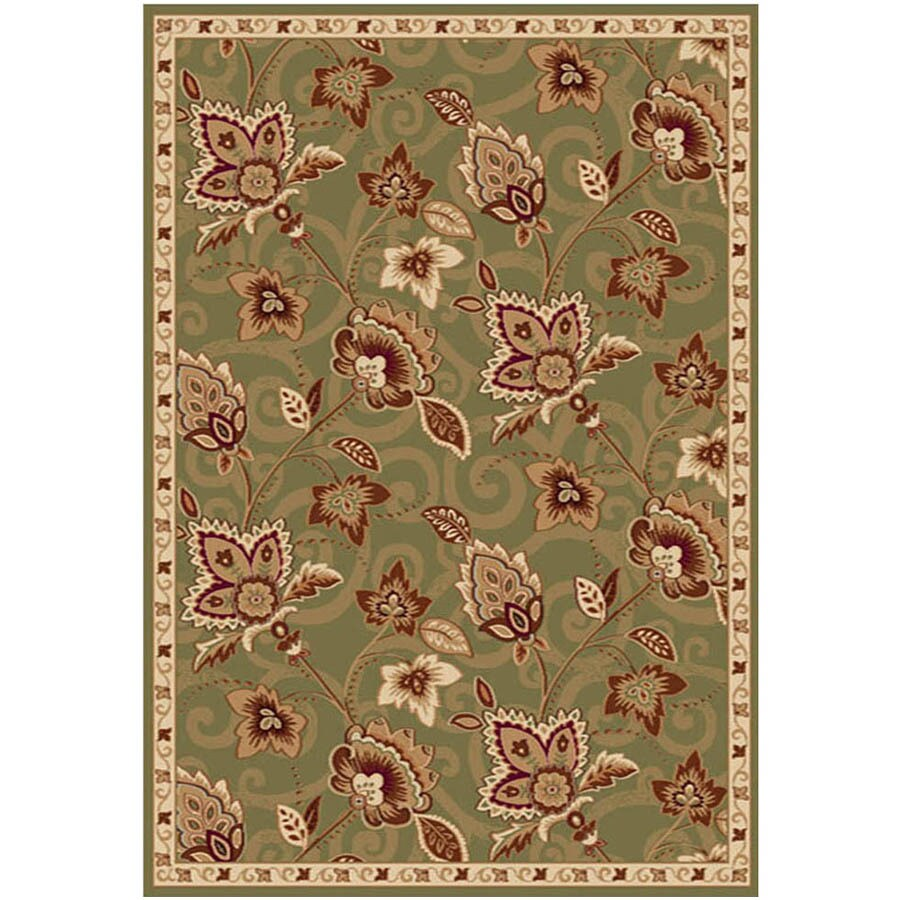 Home Dynamix Lisbon Green-Gold Rectangular Indoor Woven Area Rug (Common: 5 x 7; Actual: 5.17-ft W x 7.17-ft L)