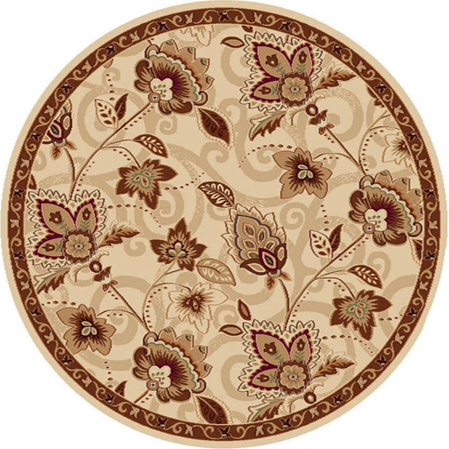 Home Dynamix Lisbon Ivory-Gold Round Indoor Woven Area Rug (Common: 5 x 5; Actual: 5.17-ft W x 5.17-ft L)