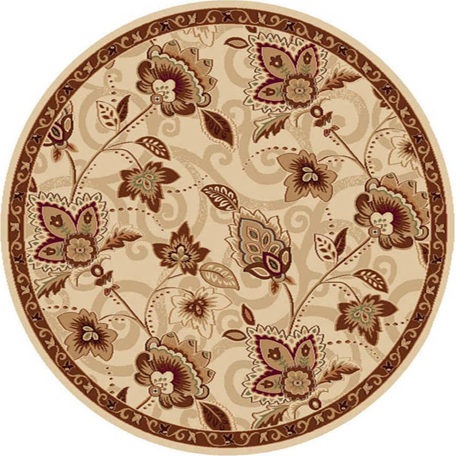 Home Dynamix Lisbon Ivory and Gold Round Indoor Woven Area Rug (Common: 8 x 8; Actual: 94-in W x 94-in L)