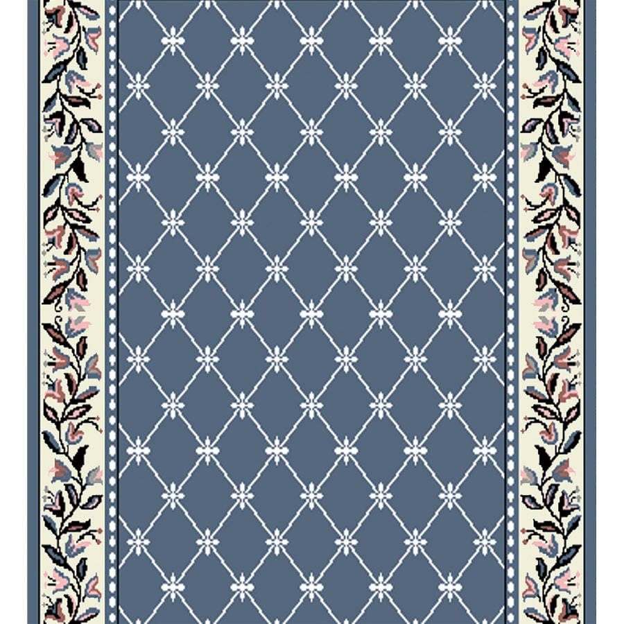 Home Dynamix London Country Blue Rectangular Indoor Woven Runner (Common: 2 x 12; Actual: 27-in W x 144-in L)