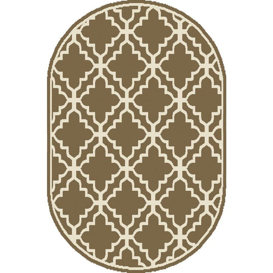 Shop Home Dynamix Sydney Taupe Oval Indoor Woven Throw Rug