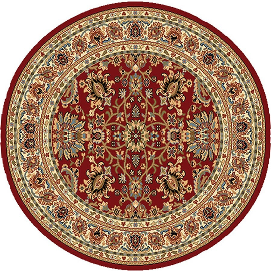 Home Dynamix Paris Red Round Indoor Woven Throw Rug (Common: 4 x 4; Actual: 39-in W x 39-in L)