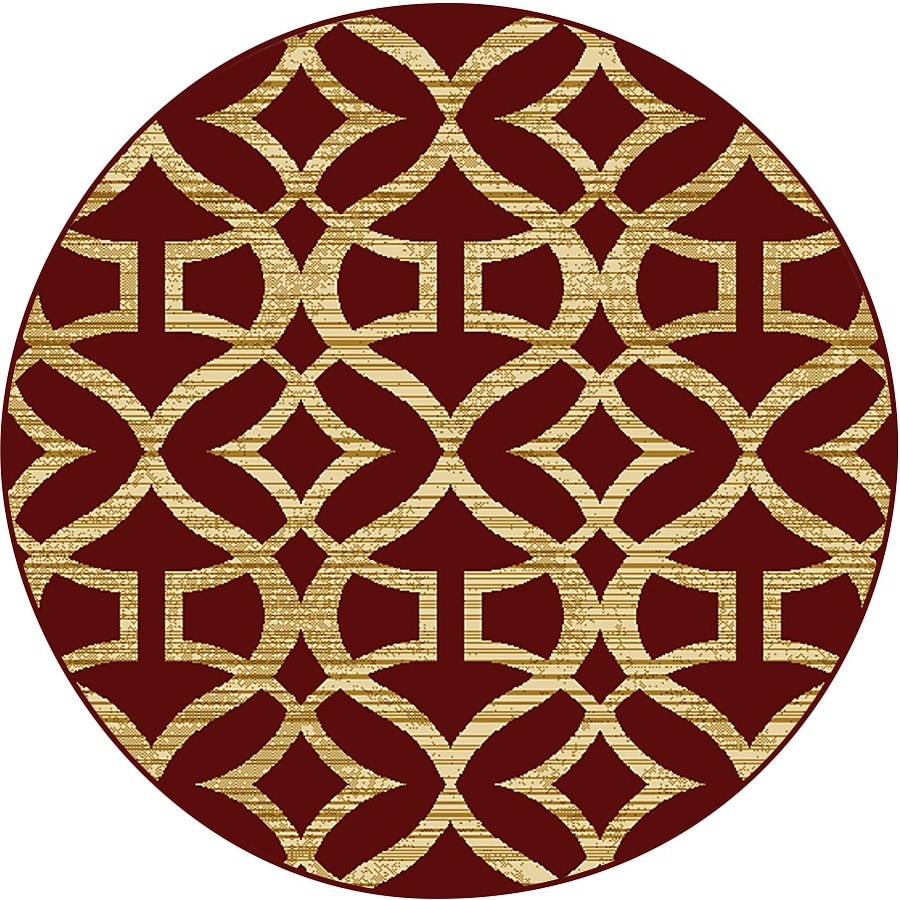 Home Dynamix Caracas Red Round Indoor Woven Throw Rug (Common: 4 x 4; Actual: 3.25-ft W x 3.25-ft L)