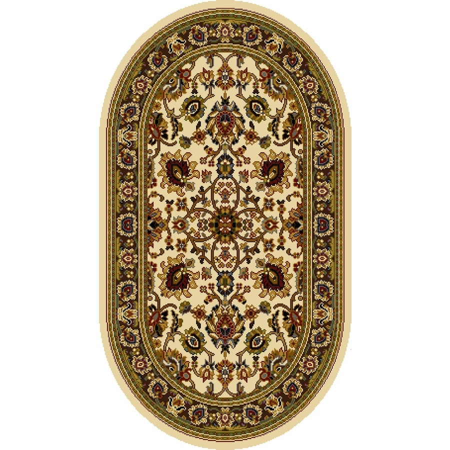 Home Dynamix Paris Ivory Oval Indoor Woven Throw Rug (Common: 2 x 4; Actual: 2.62-ft W x 4.26-ft L)