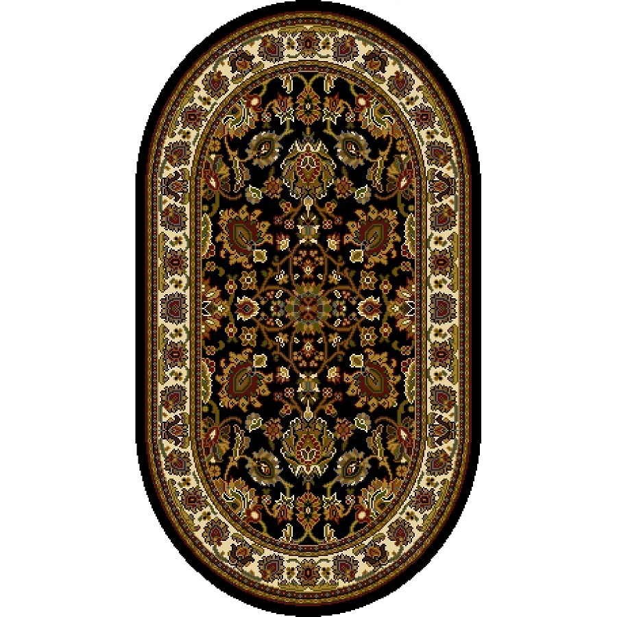 Home Dynamix Paris Black Oval Indoor Woven Throw Rug (Common: 2 x 4; Actual: 2.62-ft W x 4.26-ft L)