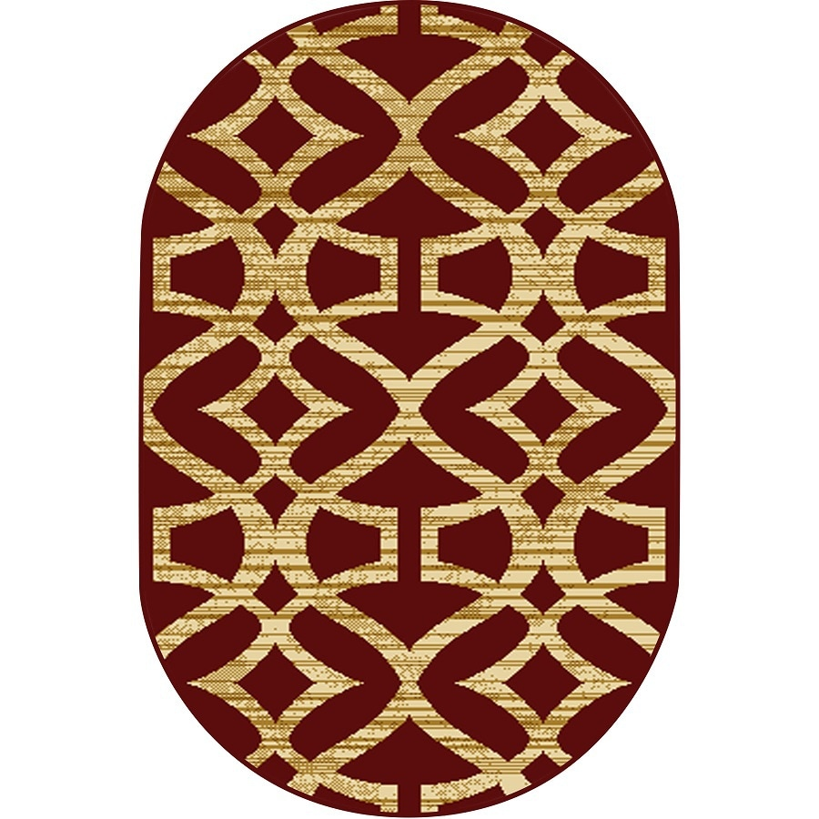 Home Dynamix Caracas Red Oval Indoor Woven Throw Rug (Common: 2 x 4; Actual: 2.62-ft W x 4.26-ft L)