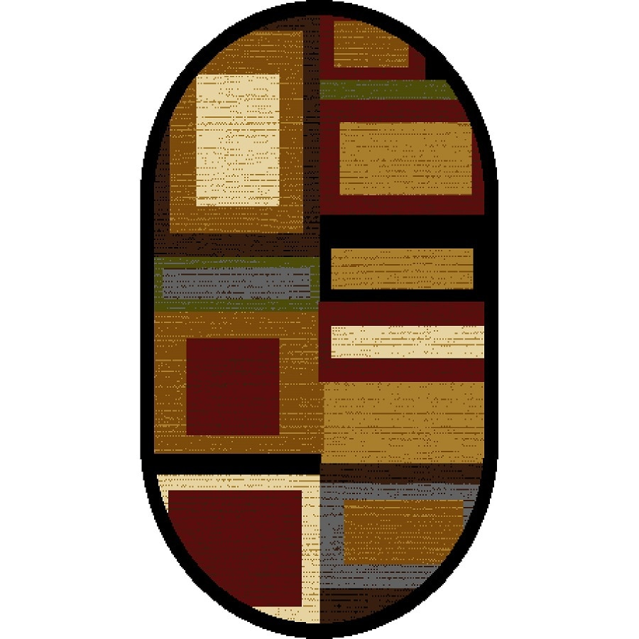 Home Dynamix Montreal Multicolor and Red Oval Indoor Woven Throw Rug (Common: 2 x 4; Actual: 31.4-in W x 51.1-in L)
