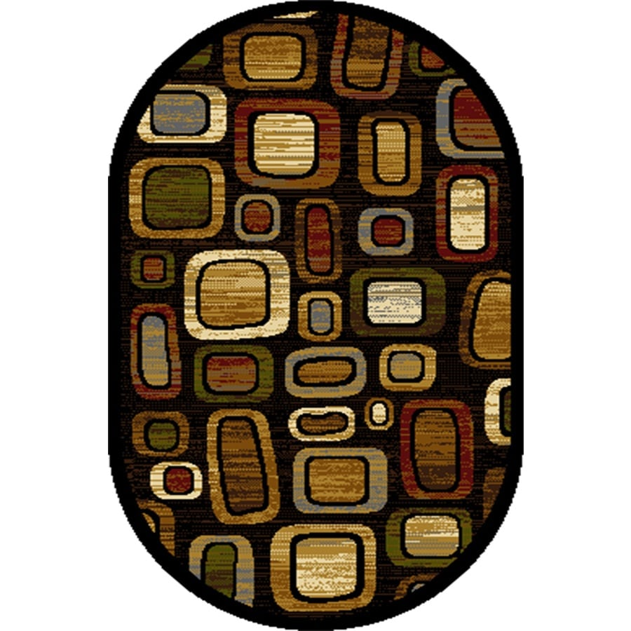 Home Dynamix Montreal Black-Multi Oval Indoor Woven Throw Rug (Common: 2 x 4; Actual: 2.62-ft W x 4.26-ft L)