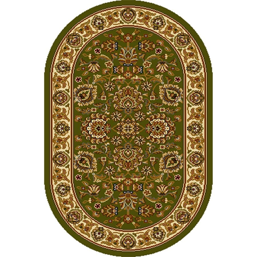 Home Dynamix Brussels Green-Ivory Oval Indoor Woven Throw Rug (Common: 2 x 4; Actual: 2.62-ft W x 4.26-ft L)