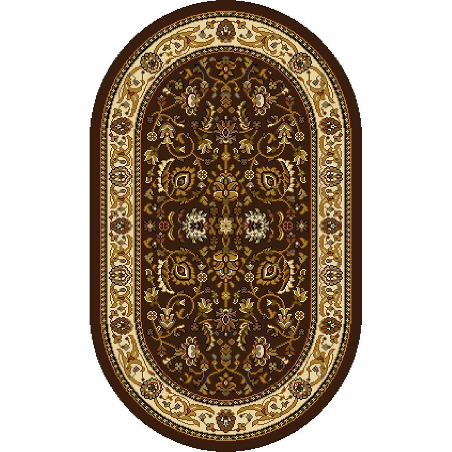 Home Dynamix Brussels Brown-Ivory Oval Indoor Woven Throw Rug (Common: 2 x 4; Actual: 2.62-ft W x 4.26-ft L)