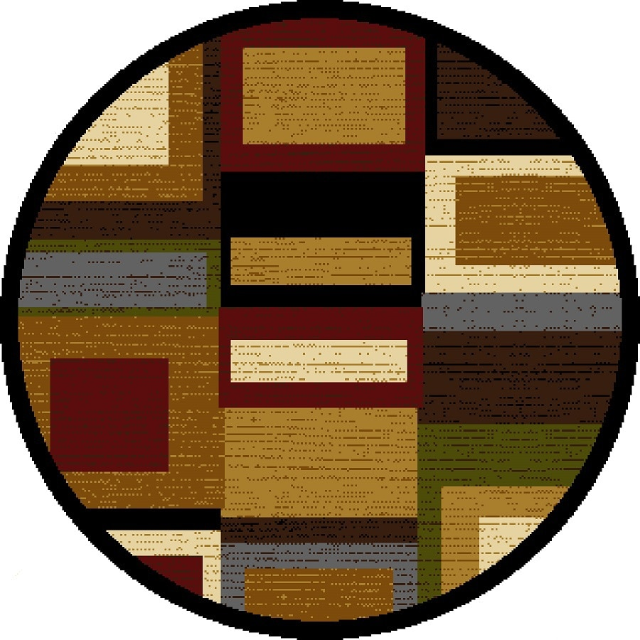 Home Dynamix Montreal Multicolor and Red Round Indoor Woven Area Rug (Common: 5 x 5; Actual: 62-in W x 62-in L)