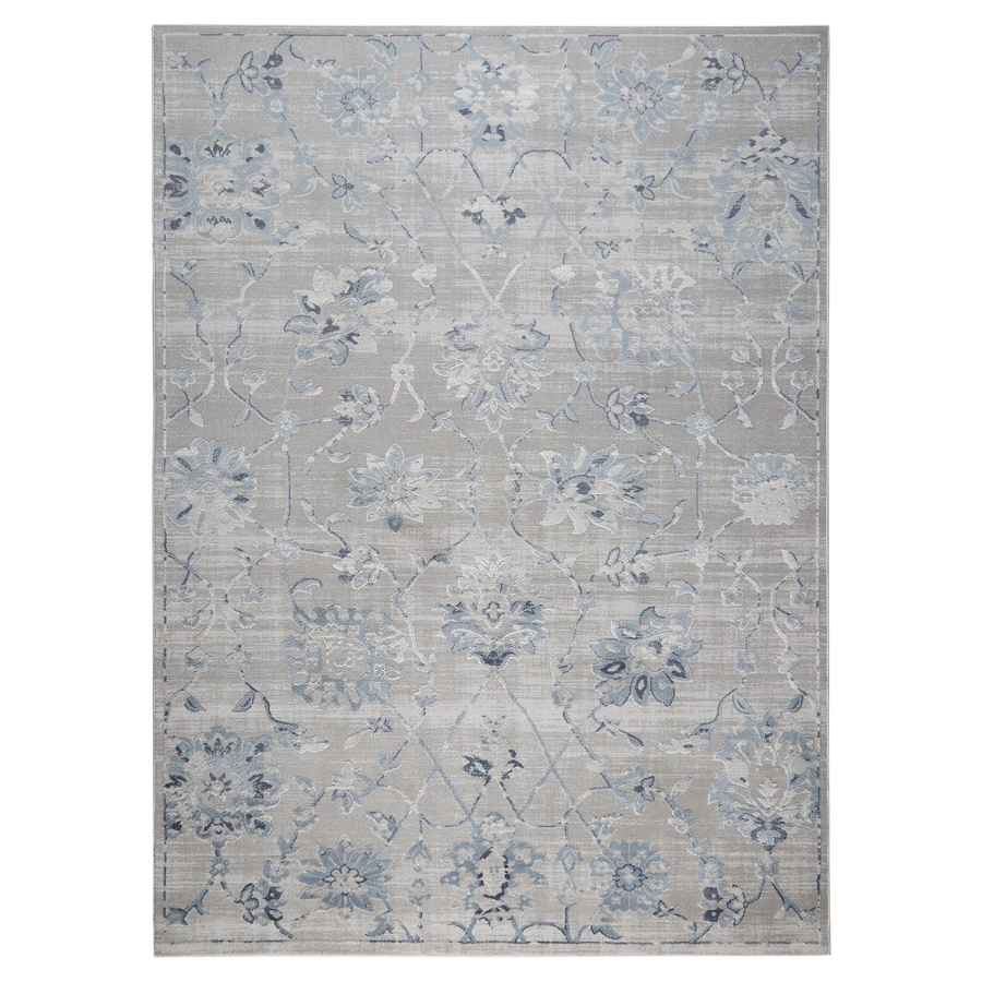 Home Dynamix Premier Floral Blue 8 X 10 Gray Blue Indoor Floral Botanical Area Rug In The Rugs Department At Lowes Com