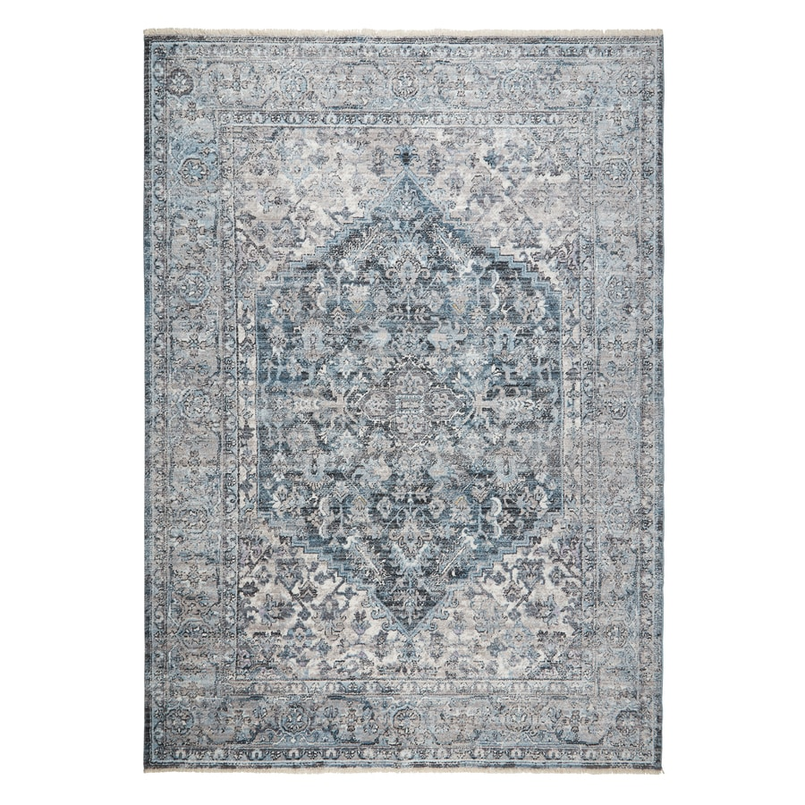 Home Dynamix Premier Monarch 8 X 10 Blue Hexagonal Indoor Medallion Area Rug In The Rugs Department At Lowes Com