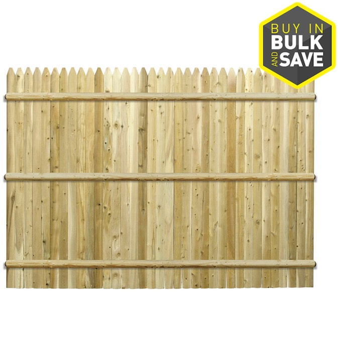 Severe Weather 6 Ft H X 8 Ft W Cedar Stockade Wood Fence Panel In The Wood Fence Panels Department At Lowes Com