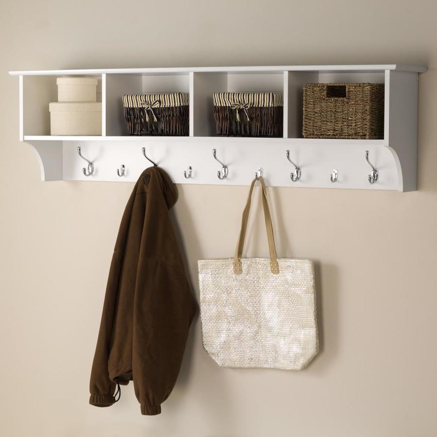 Coat Rack Wall Hanging Entryway Shelf White Coat Rack with Matte Nickel 3 Prong