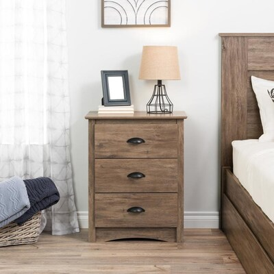 Prepac Salt Spring 3 Drawer Tall Nightstand In Drifted Gray At