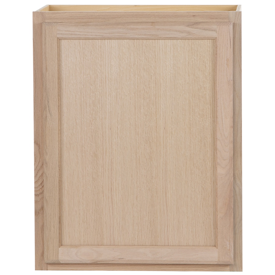 Unfinished brown oak double door kitchen wall cabinet at lowes com -  Unfinished Door Wall Cabinet Product Image 1 Project Source 24 In W X 30 In H X 12 In D