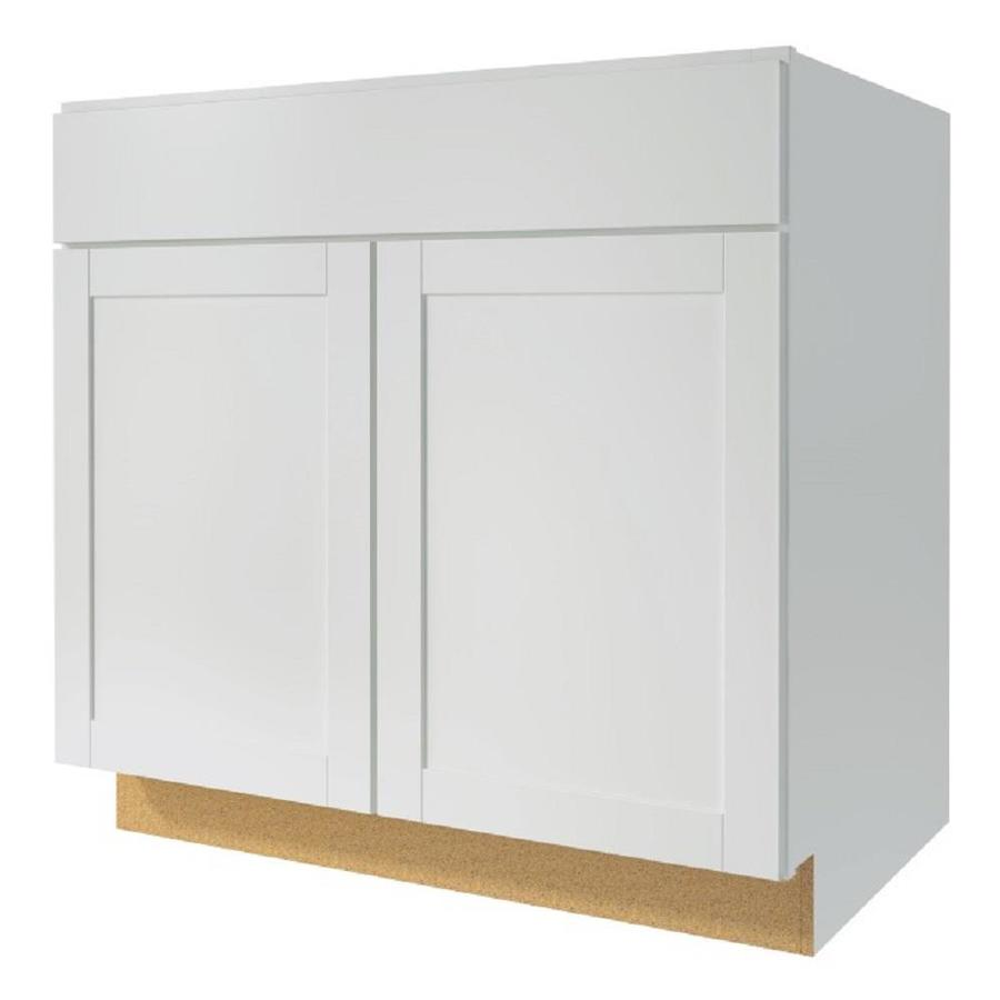 shop kitchen classics arcadia 30 in w x 35 in h x d white sink base cabinet at. Black Bedroom Furniture Sets. Home Design Ideas