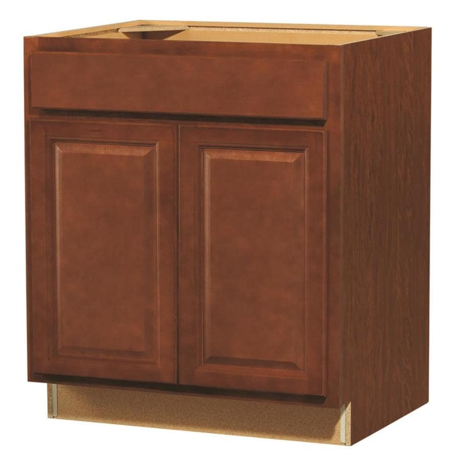 shop kitchen classics cheyenne 30 in w x 35 in h x d stained saddle sink base cabinet. Black Bedroom Furniture Sets. Home Design Ideas