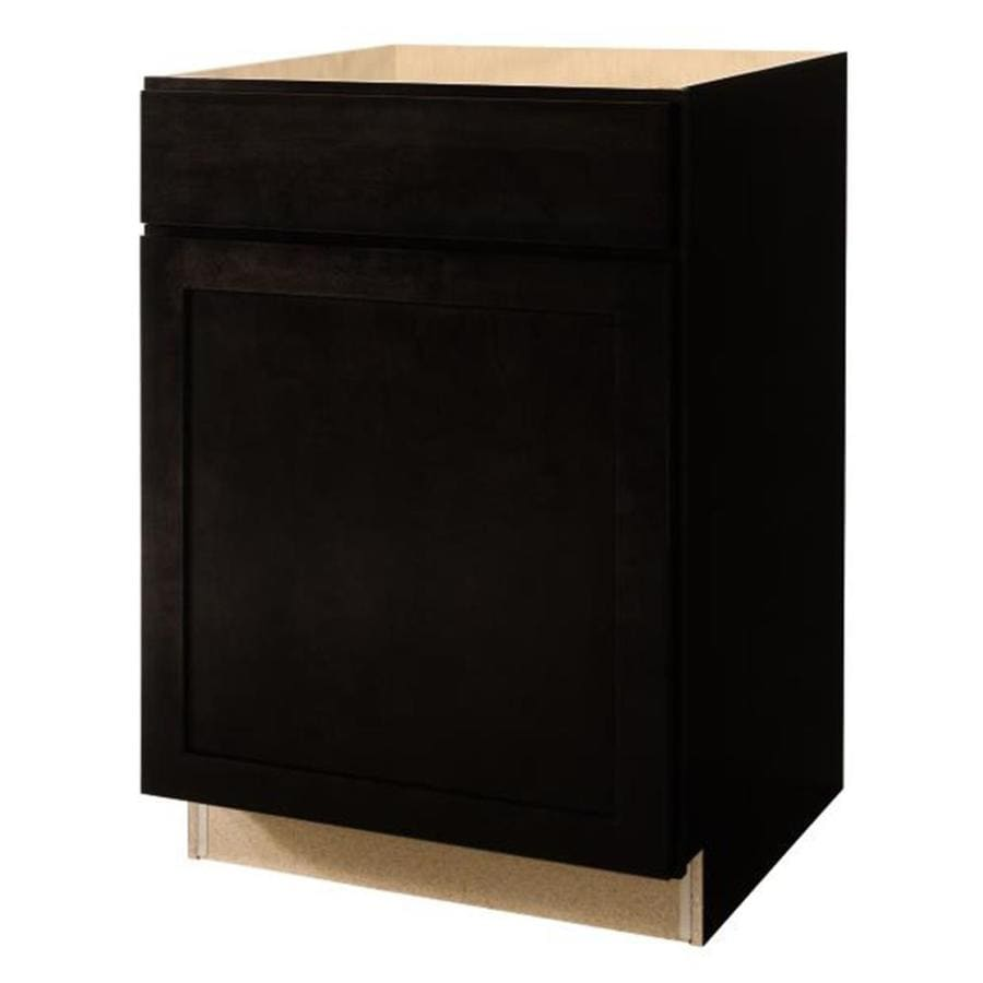 Diamond NOW Brookton 24.0-in W x 35.0-in H x 23.75-in D Espresso Shaker Door and Drawer Base Cabinet