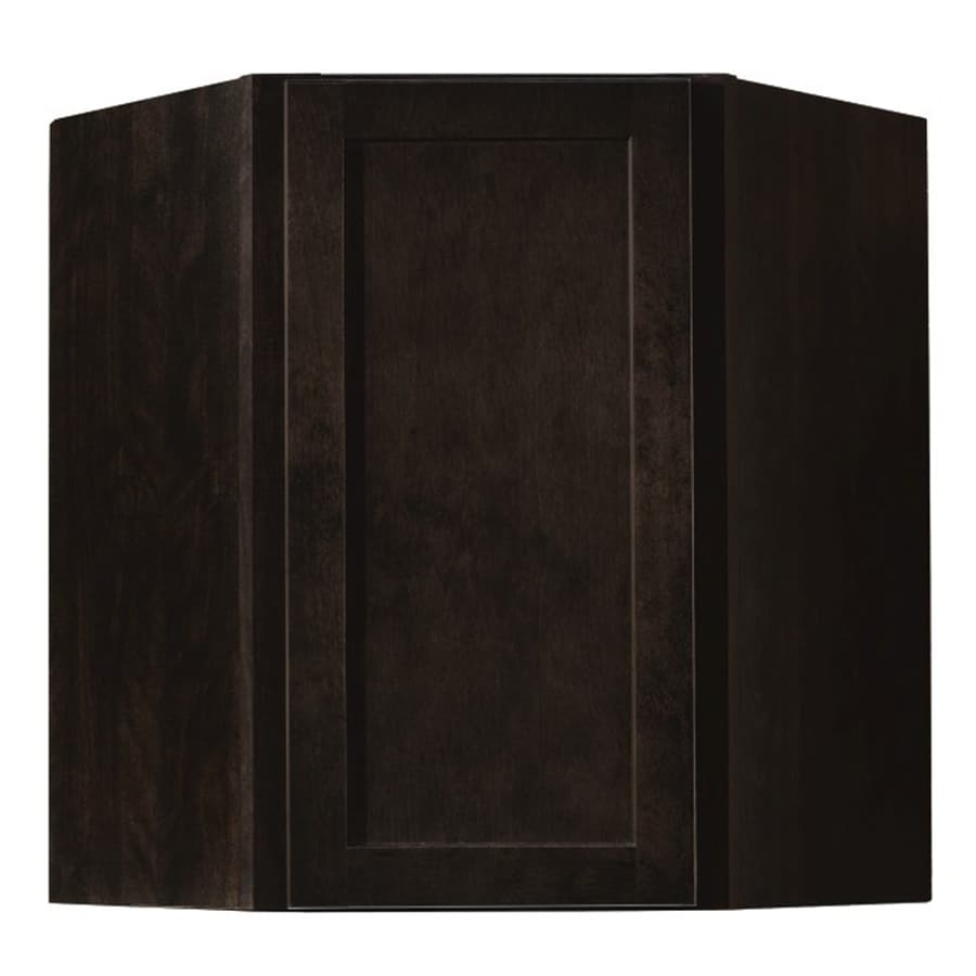 Diamond NOW Brookton 24-in W x 30-in H x 12-in D Espresso Corner Wall Cabinet