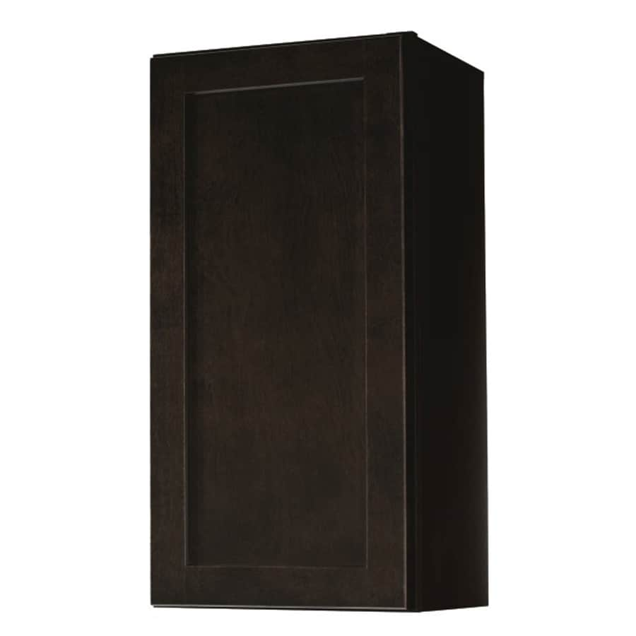 Diamond NOW Brookton 15-in W x 30-in H x 12-in D Espresso Door Wall Cabinet